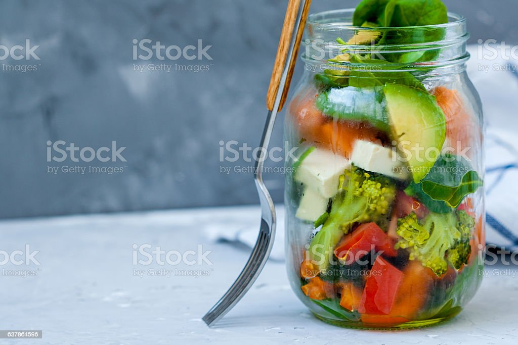 Vegan salad in a jar stock photo