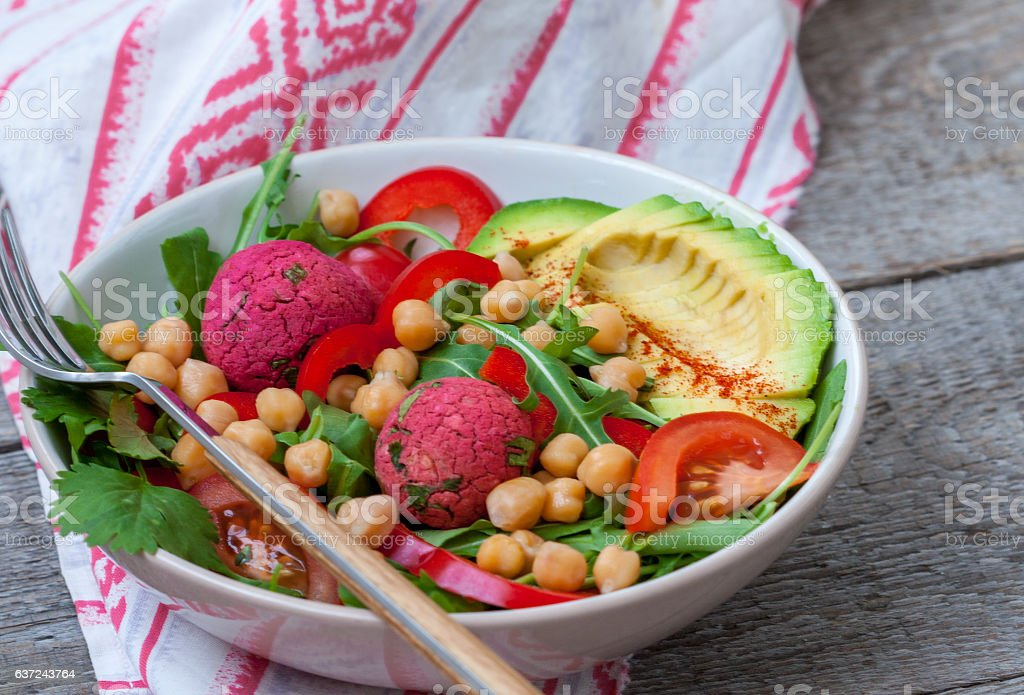 Vegan salad with falafel and vegetables. stock photo