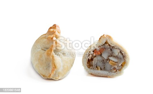 Vegan  shortcrust pastry with potato and carrot with onion and swede isolated on white