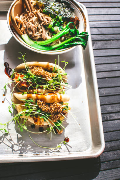 Vegan Steamed Bao Buns And Ramen stock photo