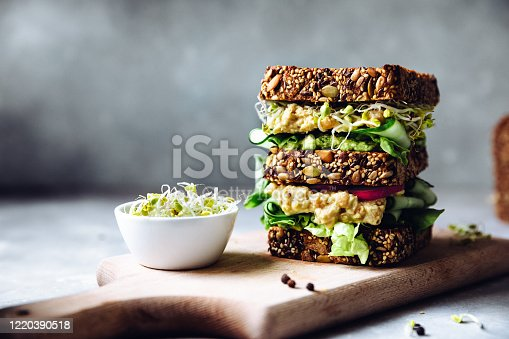 Vegetarian sandwich made with sourdough bread, avocado creme, cucumber, radish and remoulade sauce with bowl of sprouts served on a table.