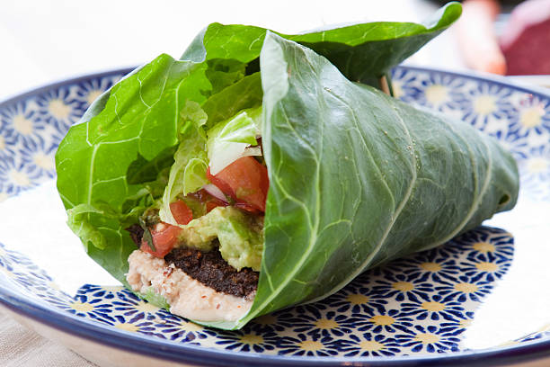 vegan taco wrap - lettuce stock photos and pictures