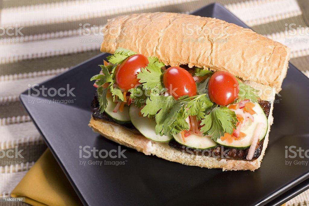 Vegan Tofu Banh Mi Sandwich stock photo