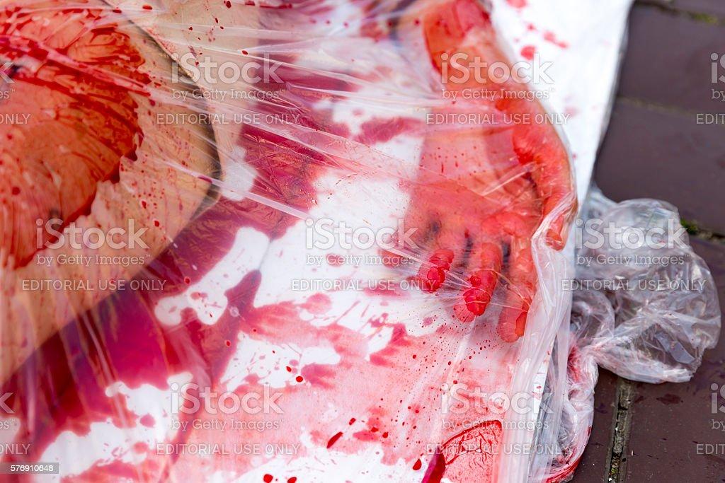 Vegan vegetarian bloody hand protest stock photo