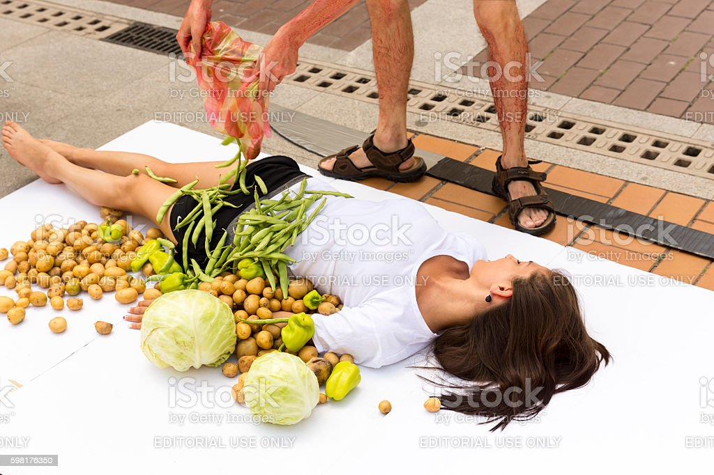 Vegan vegetarian humans cooking protest stock photo