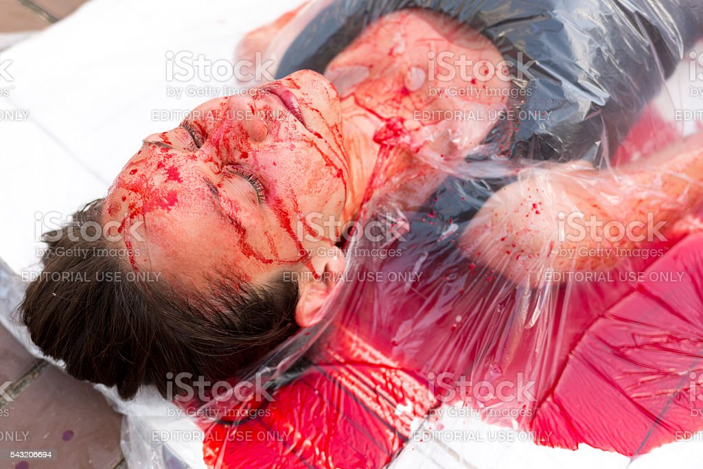 Vegan vegetarian meat equals killing protest stock photo
