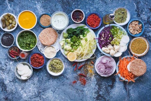 Vegan veggies burger recipe detox food stock photo