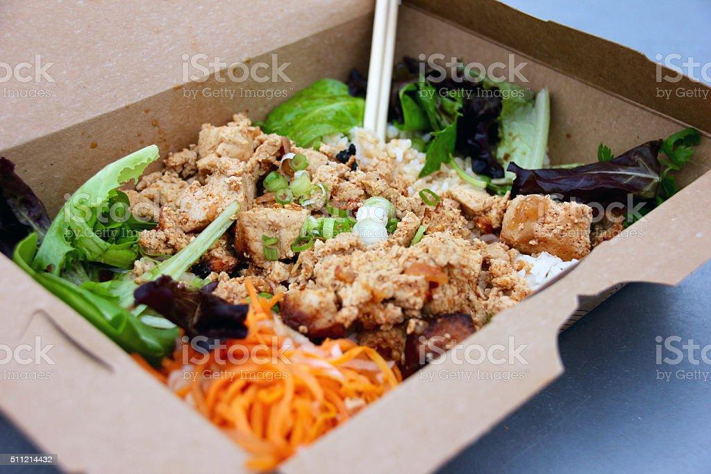 vegan vietnamese veggie rice tofu and soy stock photo