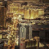 Las Vegas,USA - December 19, 2013: Cityscape of Las Vegas at sunset.