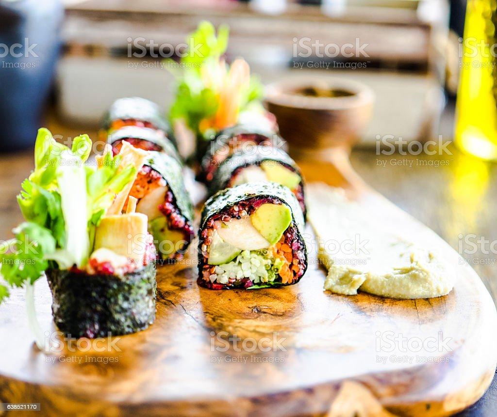 Vegerarian nori rolls stock photo