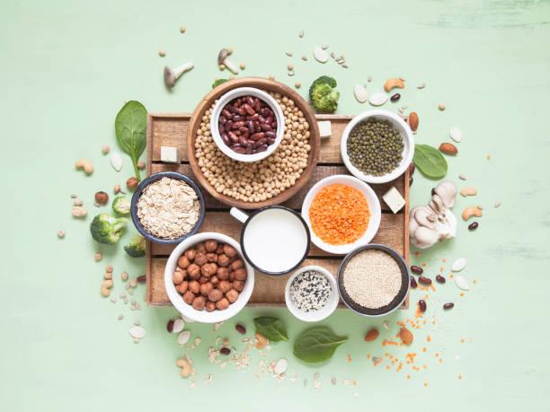 źródła albumów warzywnych. białko roślinne (fasola, orzechy, warzywa, grzyby, nasiona) na zielonym tle. - białko zdjęcia i obrazy z banku zdjęć
