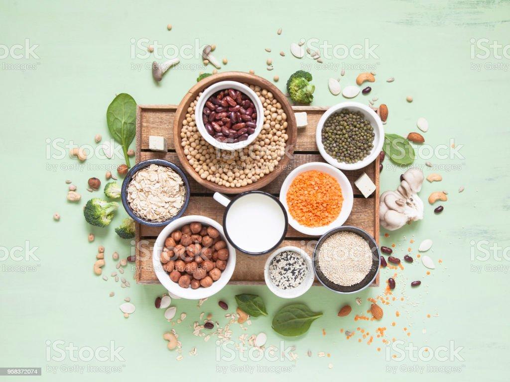 Fontes vegetais de albumina. Planta de proteína (feijão, nozes, legumes, cogumelos, sementes) sobre fundo verde. - foto de acervo