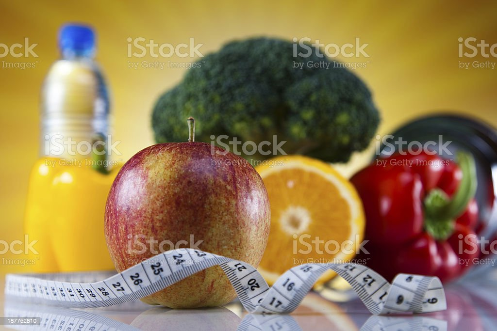 Vegetable and fruit fitness, sunset royalty-free stock photo