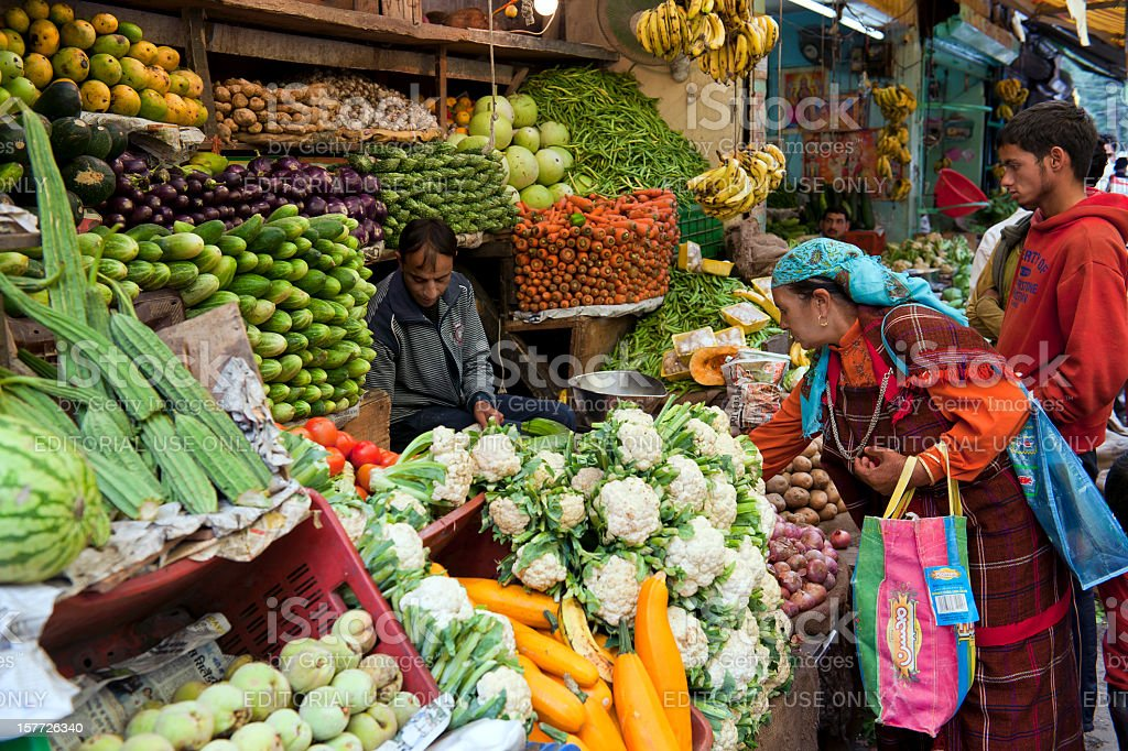 Vegetable and Fruit Market in Manali India stock photo