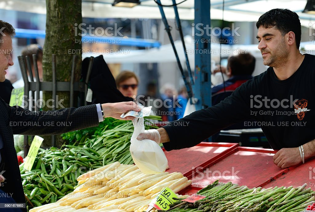 Vegetable and fruit market in Stockholm stock photo