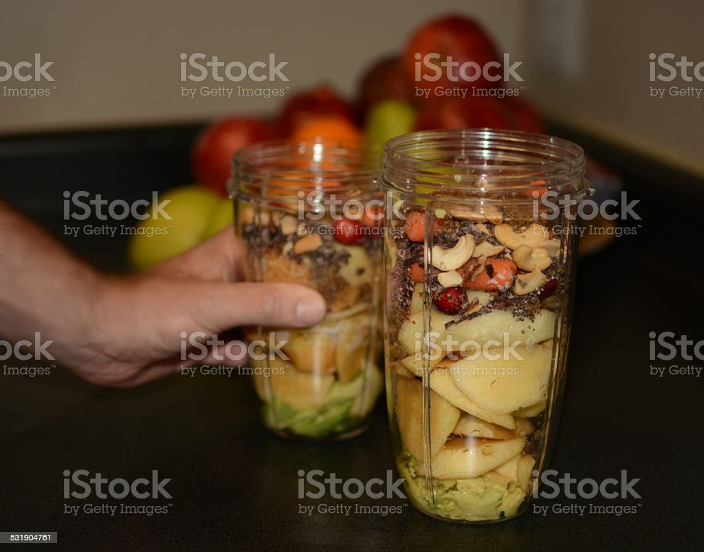Vegetable and fruit mix ready for smoothies. stock photo