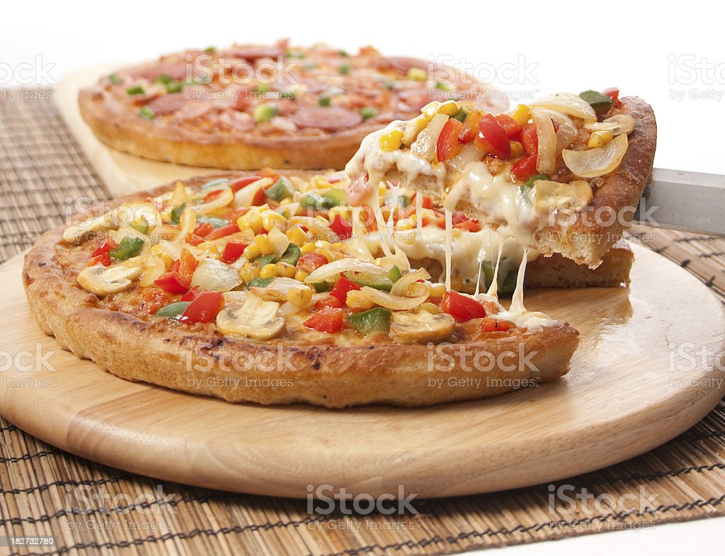 Vegetable and Meat Pizzas royalty-free stock photo