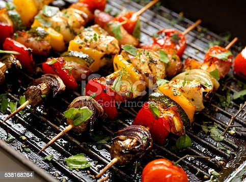 istock Vegetable and meat skewers in a herb marinade 538168264