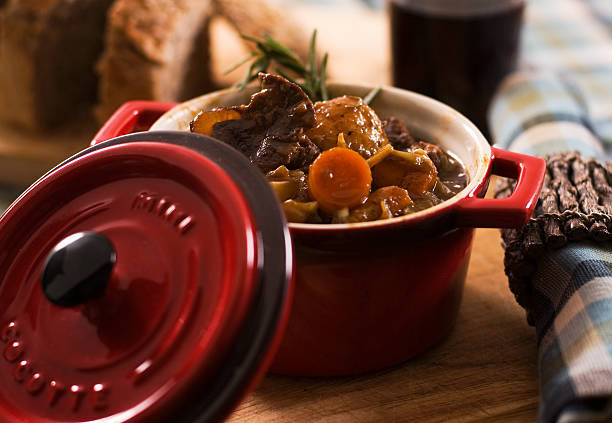 Vegetable and moose stew Vegetable and moose stew in a colorful red cocotte. Ready to eat meal. stew stock pictures, royalty-free photos & images