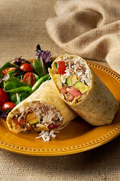 Vegetable and Rice Sandwich Wrap Burrito stock photo