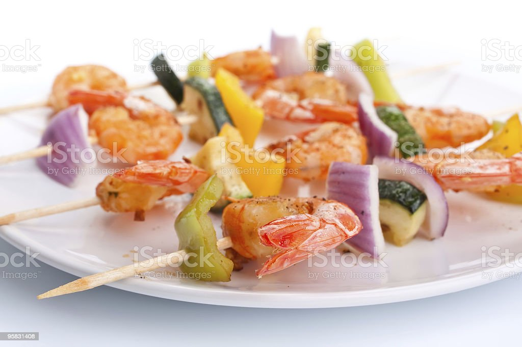vegetable and shrimp kebabs royalty-free stock photo
