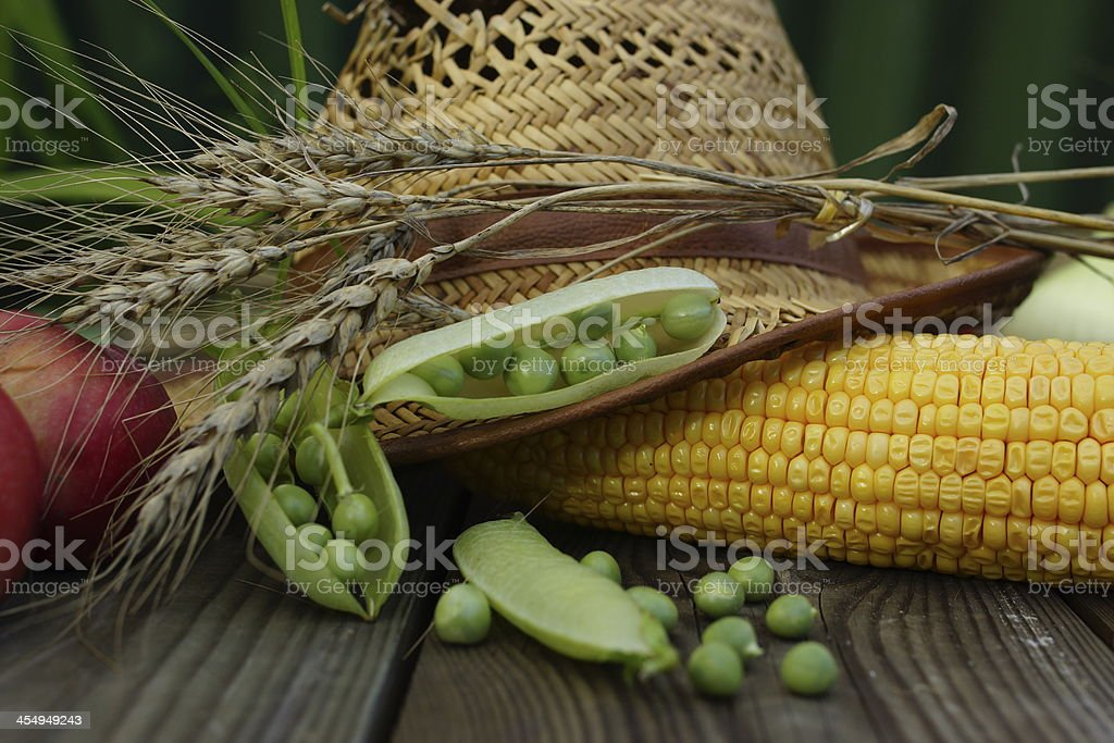 Vegetable Arrangement with Summer Fruits Assortment royalty-free stock photo