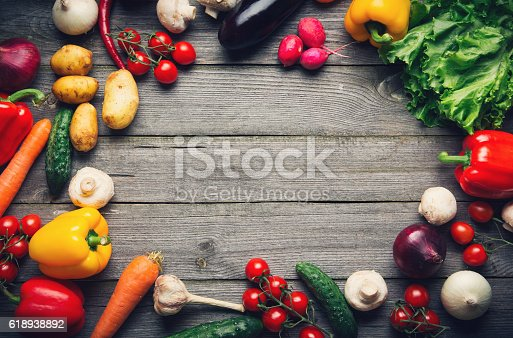 istock Vegetable background with copy space 618938892