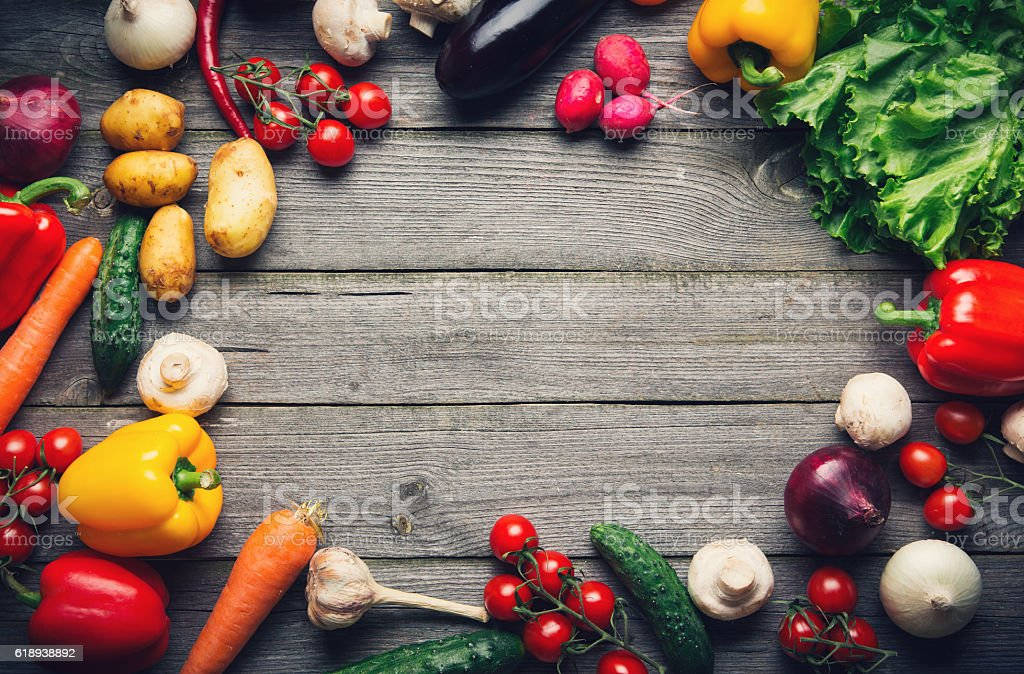 Vegetable background with copy space stock photo