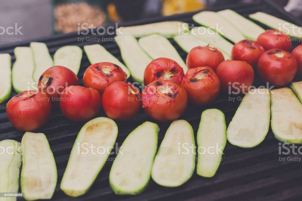 Vegetable barbecue roasted on metal grill stock photo