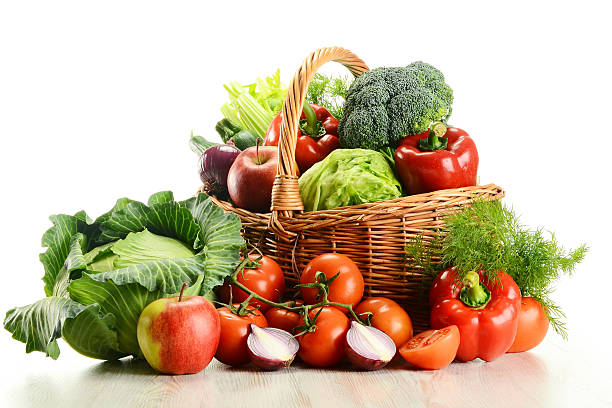 vegetable basket - vegetable stock pictures, royalty-free photos & images
