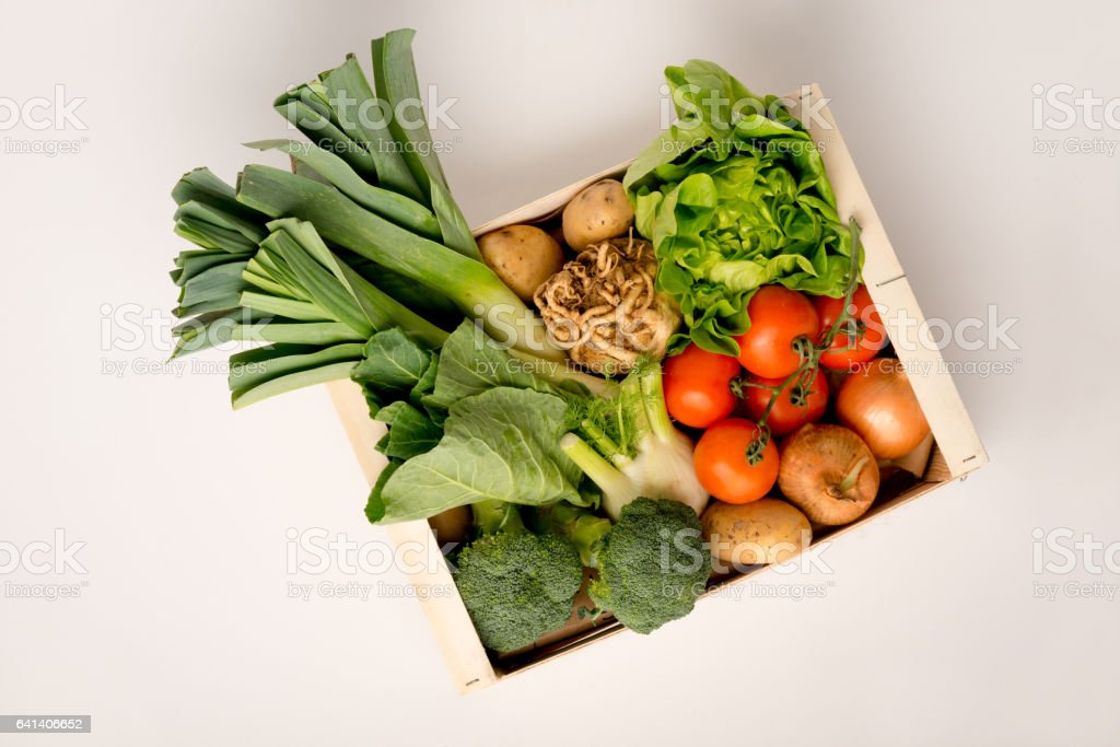 Vegetable Box on a White Background stock photo