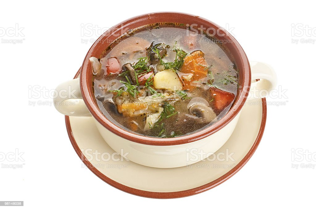vegetable cabbage and mushroom soup royalty-free stock photo