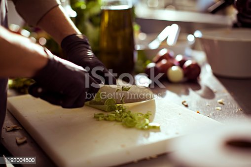 Close up of a chef chopping fruits and vegetables in the kitchen