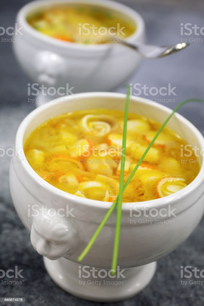 Vegetable crab sticks soup stock photo