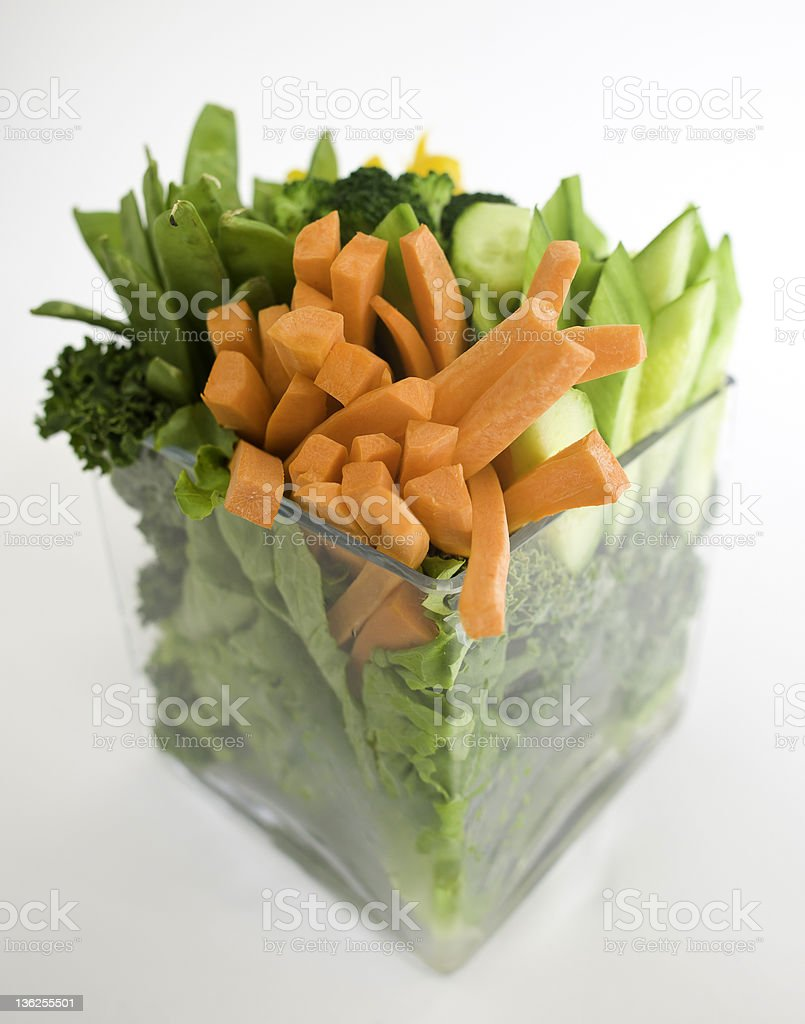 Vegetable Crudite with Carrots Broccoli and Peas stock photo