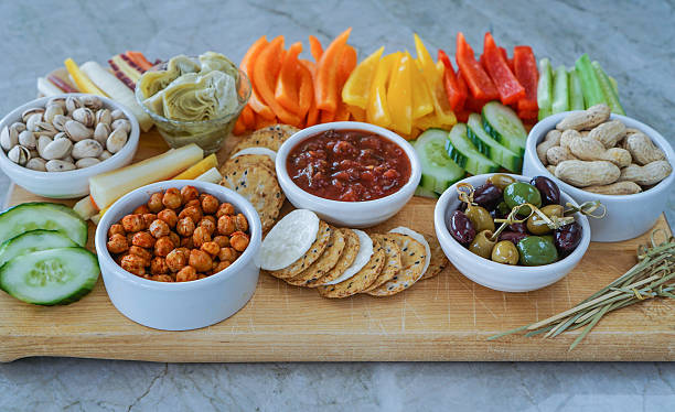 Vegetable Crudites and Dips/ vegetable platter, healthy eating stock photo