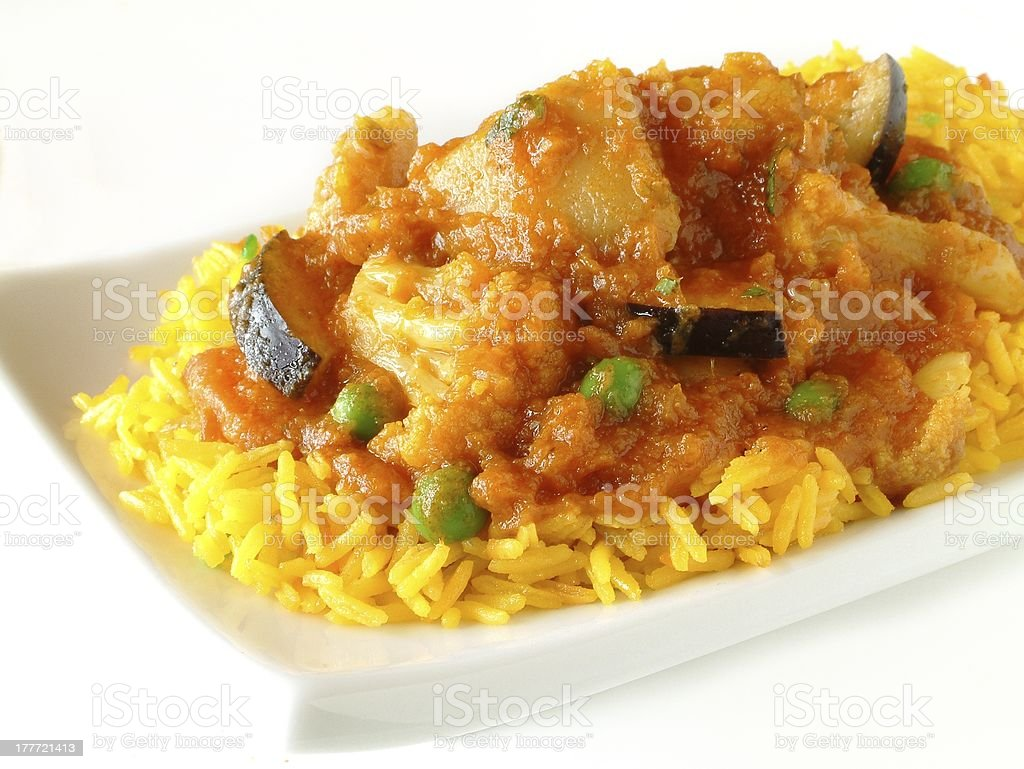 vegetable curry on white background royalty-free stock photo