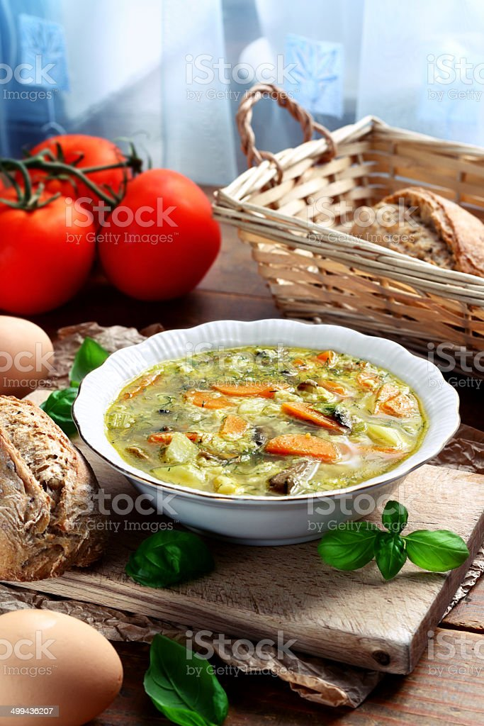 Vegetable egg soup stock photo