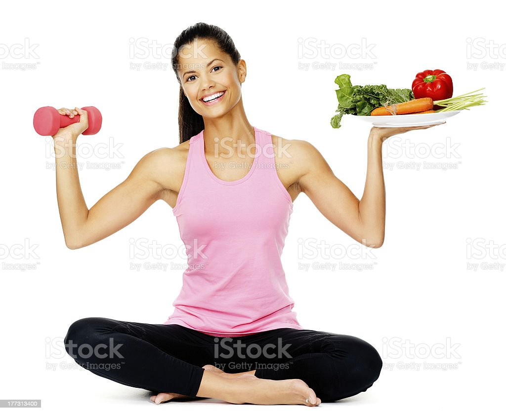 Mujer de ejercicios de vegetales - Foto de stock de Adulto libre de derechos