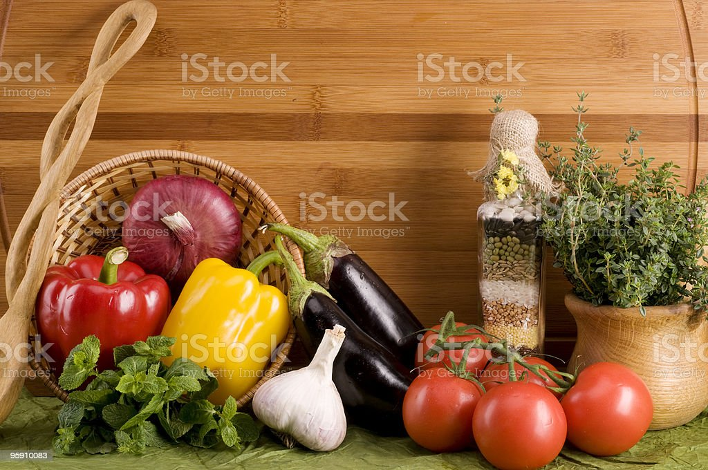 Vegetable food over wood royalty-free stock photo