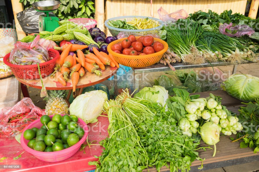 Vegetable for sale on market stall in Vietnam, Asia stock photo
