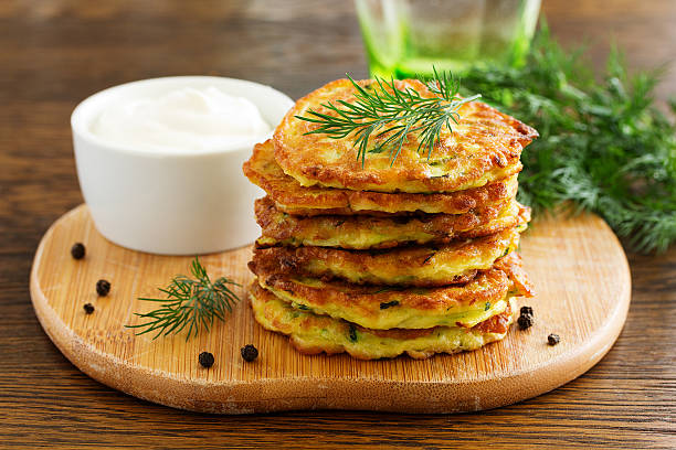 Vegetable fritters of zucchini. stock photo