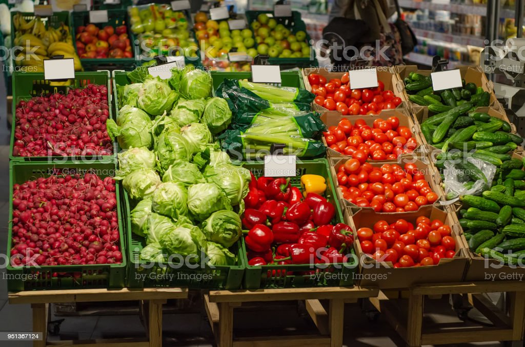 Vegetable fruit in supermarket prices food