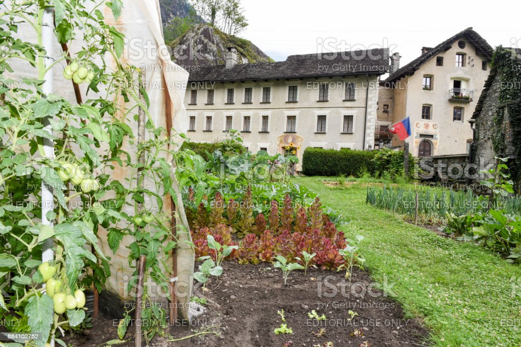 Vegetable garden in front of old house at Cevio stock photo