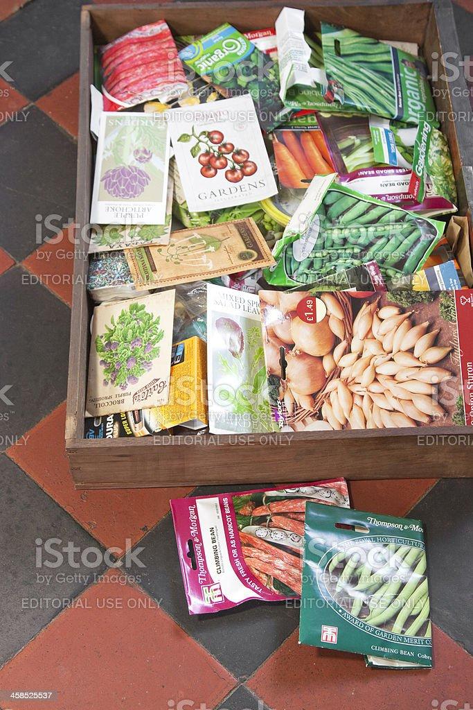 Vegetable Gardener's Seed Drawer stock photo