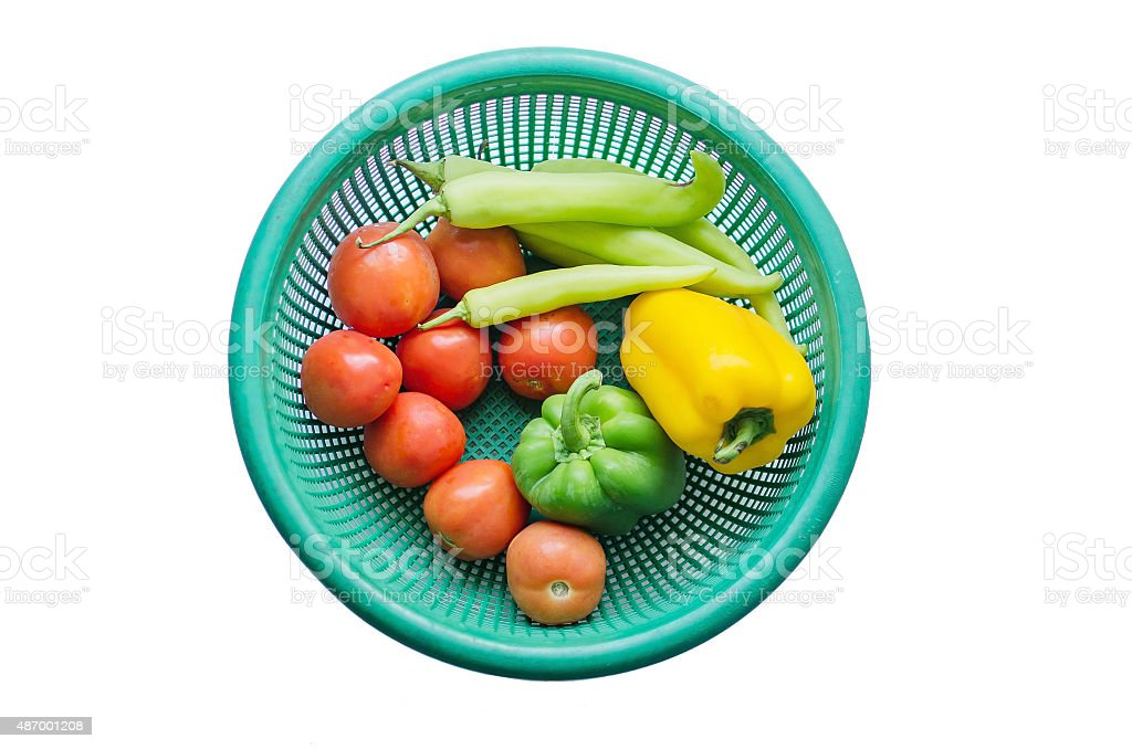 vegetable in basket isolated background stock photo
