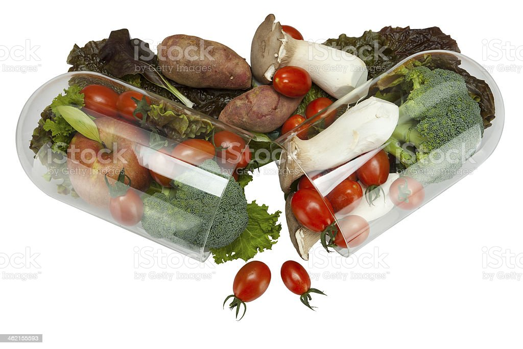 vegetable in capsule stock photo