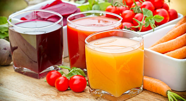 Vegetable juices - healthy drinks Vegetable juices - healthy drinks vegetable juice stock pictures, royalty-free photos & images