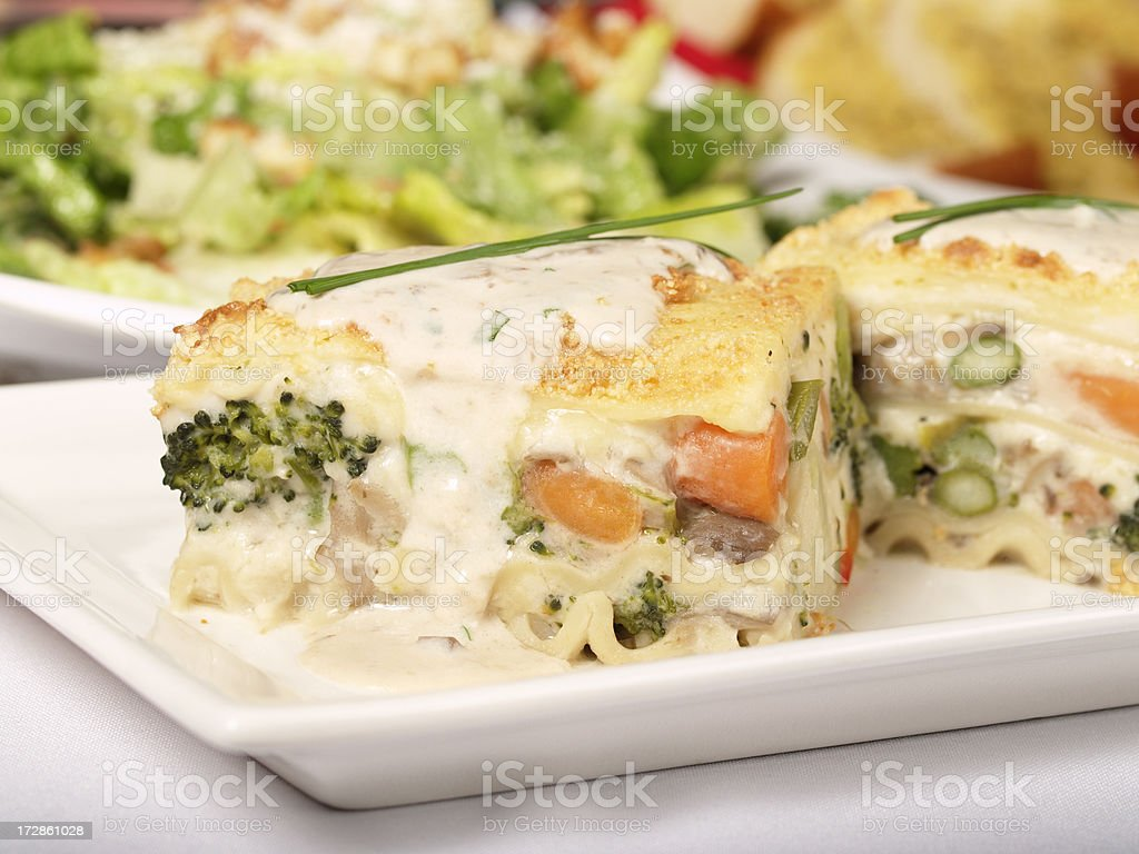 vegetable lasagna with cream souce stock photo