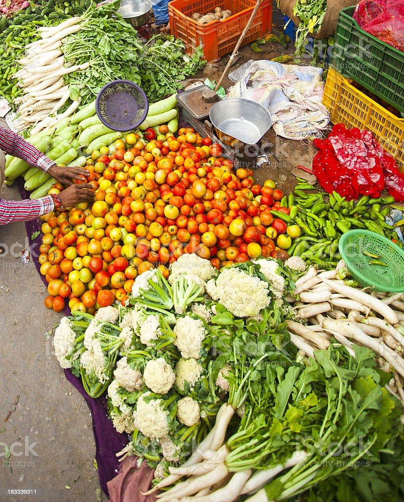 Vegetable Market in Jaipur, India stock photo